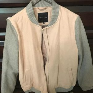 New look pink and gray bomber jacket